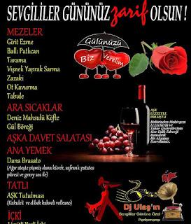 zarifi restaurant istanbul menü kutlama sevgililer günü