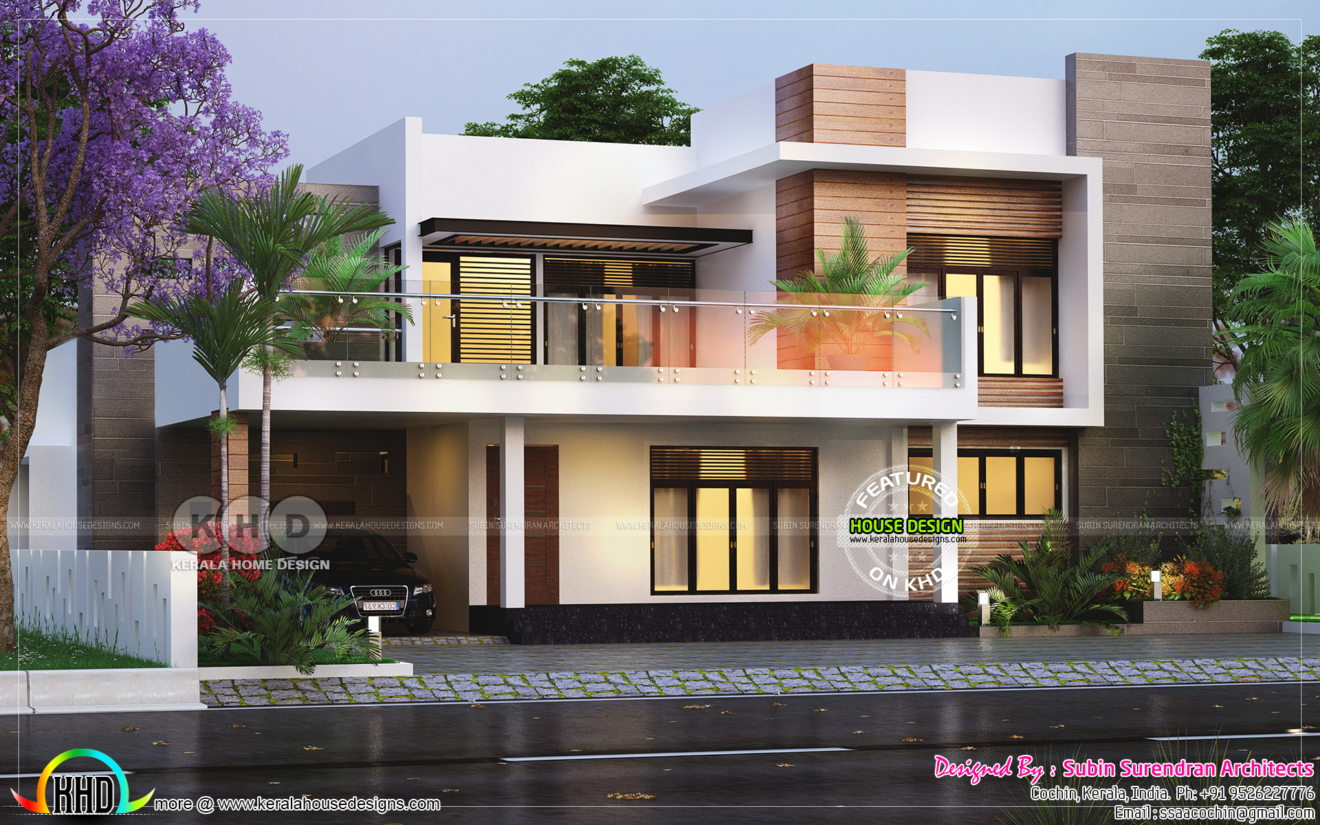 3 bedroom 2650 square feet modern flat roof house kerala for Www kerala house designs com