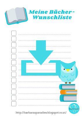 Download - Bücher-Wunschliste mit Eule farbig