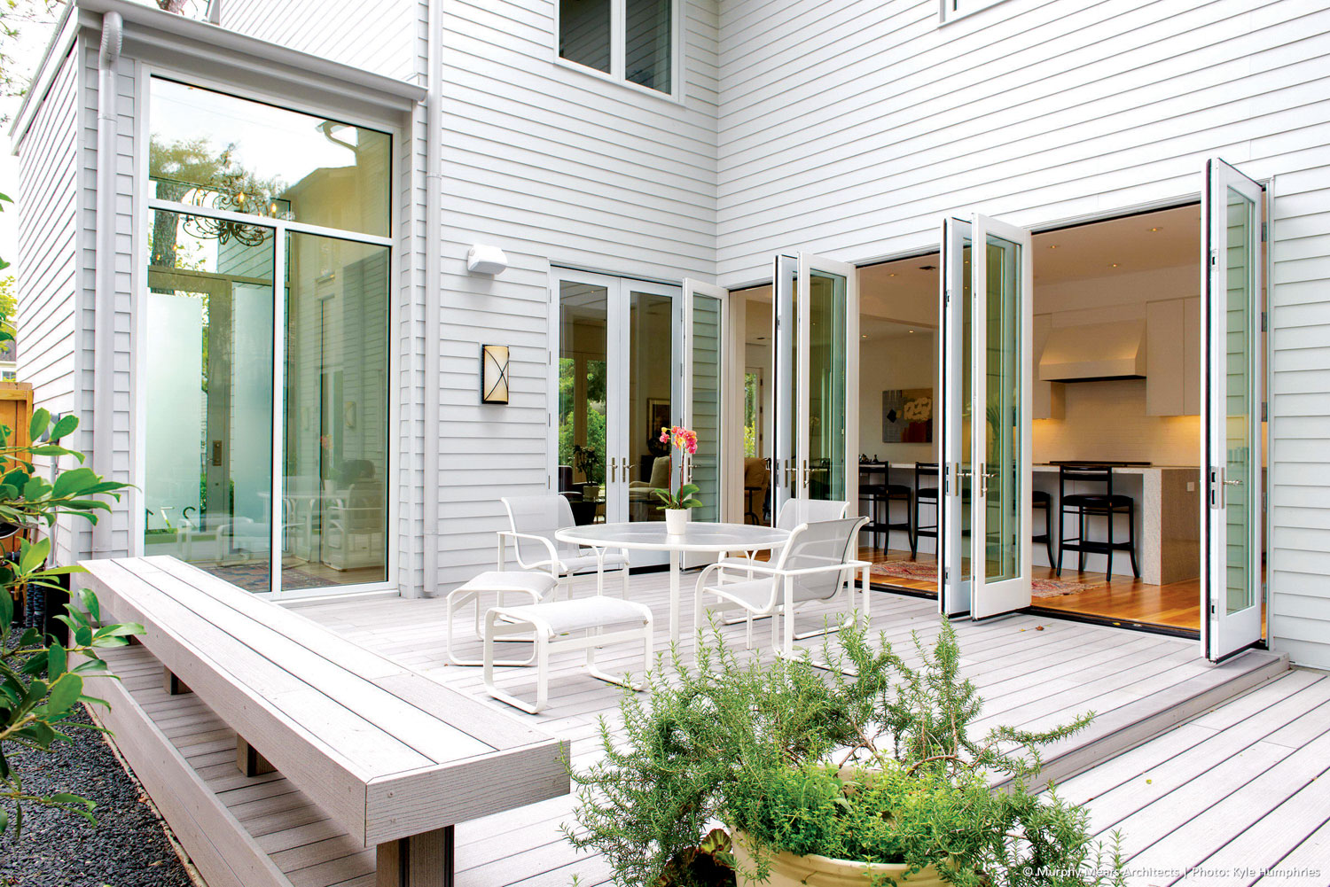 Using the french doors in houses creates a very beautiful connection between the exterior and interior
