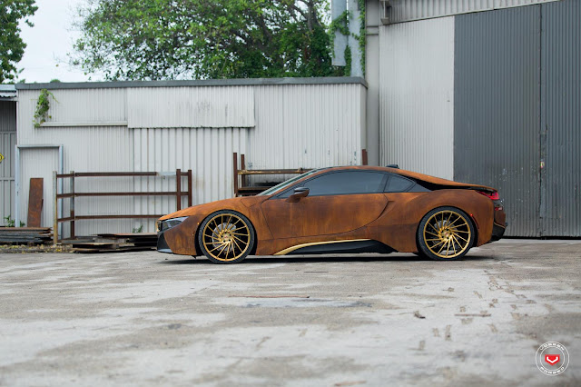 Rusted BMW I8 on Gold Vossen Forged Wheels