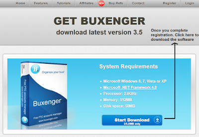 Once you complete the registration process click download button | Buxenger