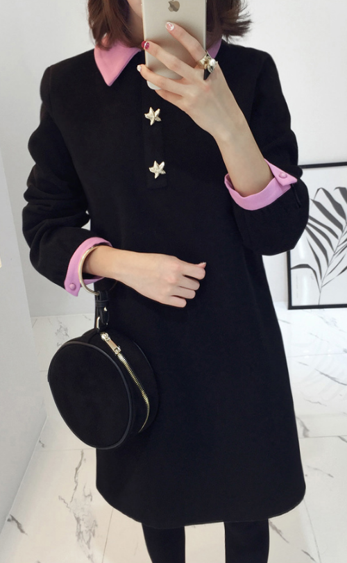 Star Button Midi Dress