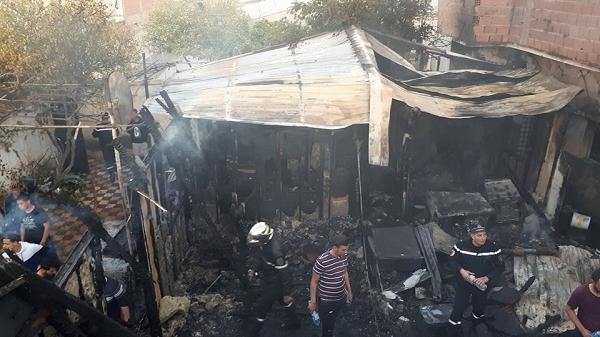 حريق يخلف إصابة إمرأة بالشطية