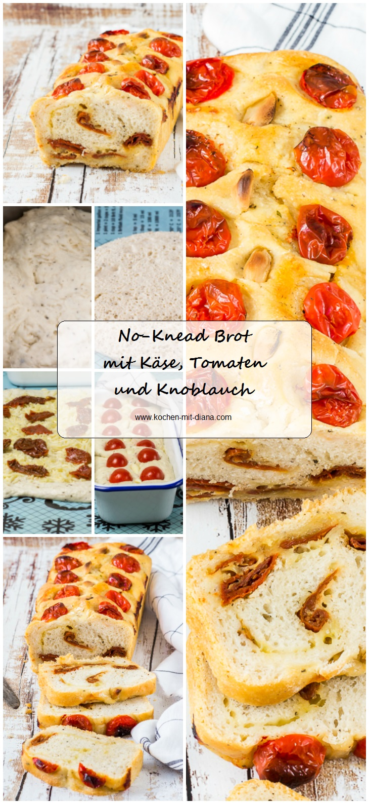 no knead brot mit k se tomaten und knoblauch kochen mit diana. Black Bedroom Furniture Sets. Home Design Ideas