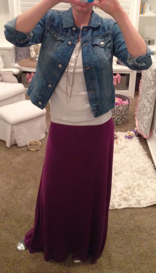 Purple Maxi Skirt, Jean Jacket, White Tee, Silver Shoes and Jewelry