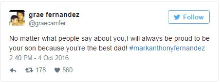 'No Matter What People Say About You, I Will Always Be Proud to be Your Son.' Says Grae Fernandez to Dad Mark Anthony.