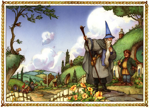 01-One-Morning-at-the-Shire-Artist-David-Twenzel-Watercolour-The-Hobbit-Frodo-Baggins-Gandalf