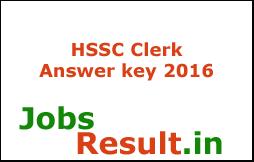 HSSC Clerk Answer key 2016