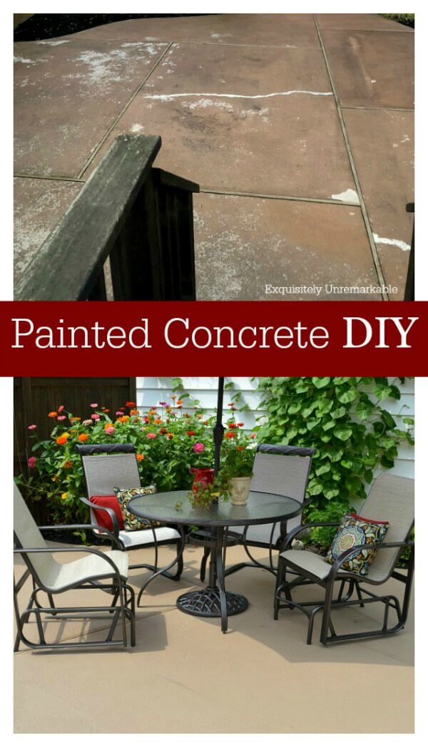 Painted Concrete DIY Pinterest graphic with before and after photos.
