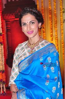 Actress Model Shilpa Reddy Exclusive Stills in Blue Saree at Vijay Karan Aashna Wedding  0032.JPG