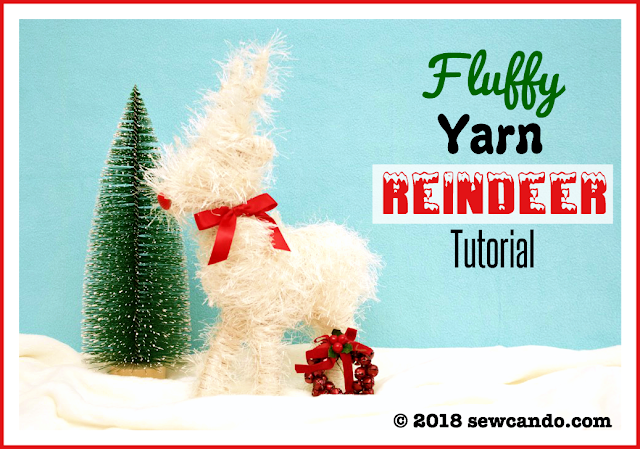 Fluffy yarn reindeer decoration
