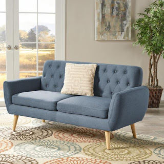 blue tufted mid century modern sofa for small spaces