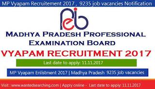 MP Vyapam Recruitement 2017