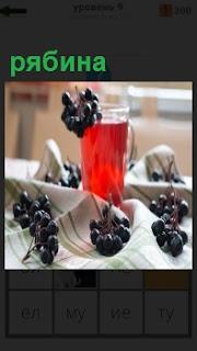 Стоит стакан с напитком и рядом лежат ягоды рябины, из которых он сделан