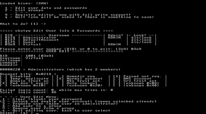 Offline NT Password & Registry Editor, Clear (blank) user password