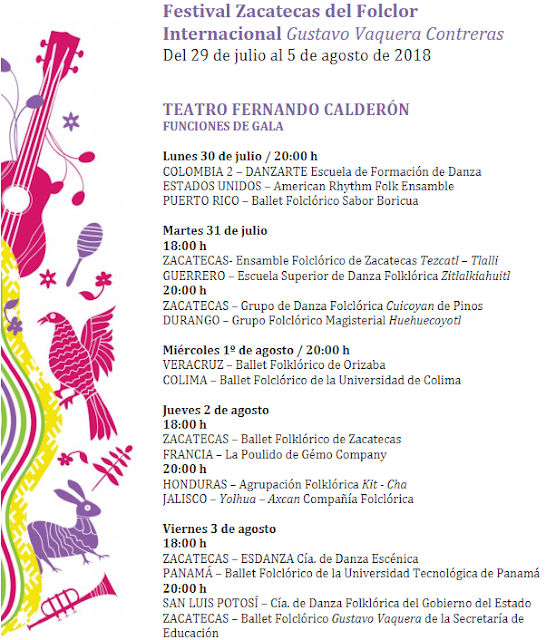 programa festival del folclor zacatecas 2018