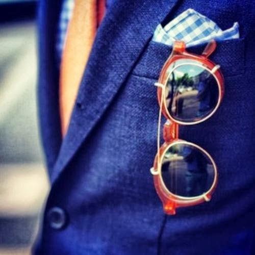 stylish pocket square and sunglasses