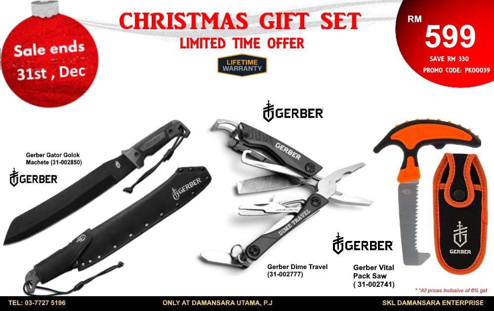 Christmas Promotion! Gerber Golok Machete ,Dime Travel Tools & Gerber Vital Pack Saw @ RM 599