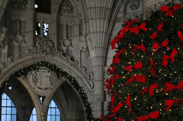 Festive red bows on a Parliamentary Christmas Tree