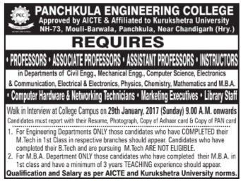 Panchkula Engineering College Wanted Professor Associate