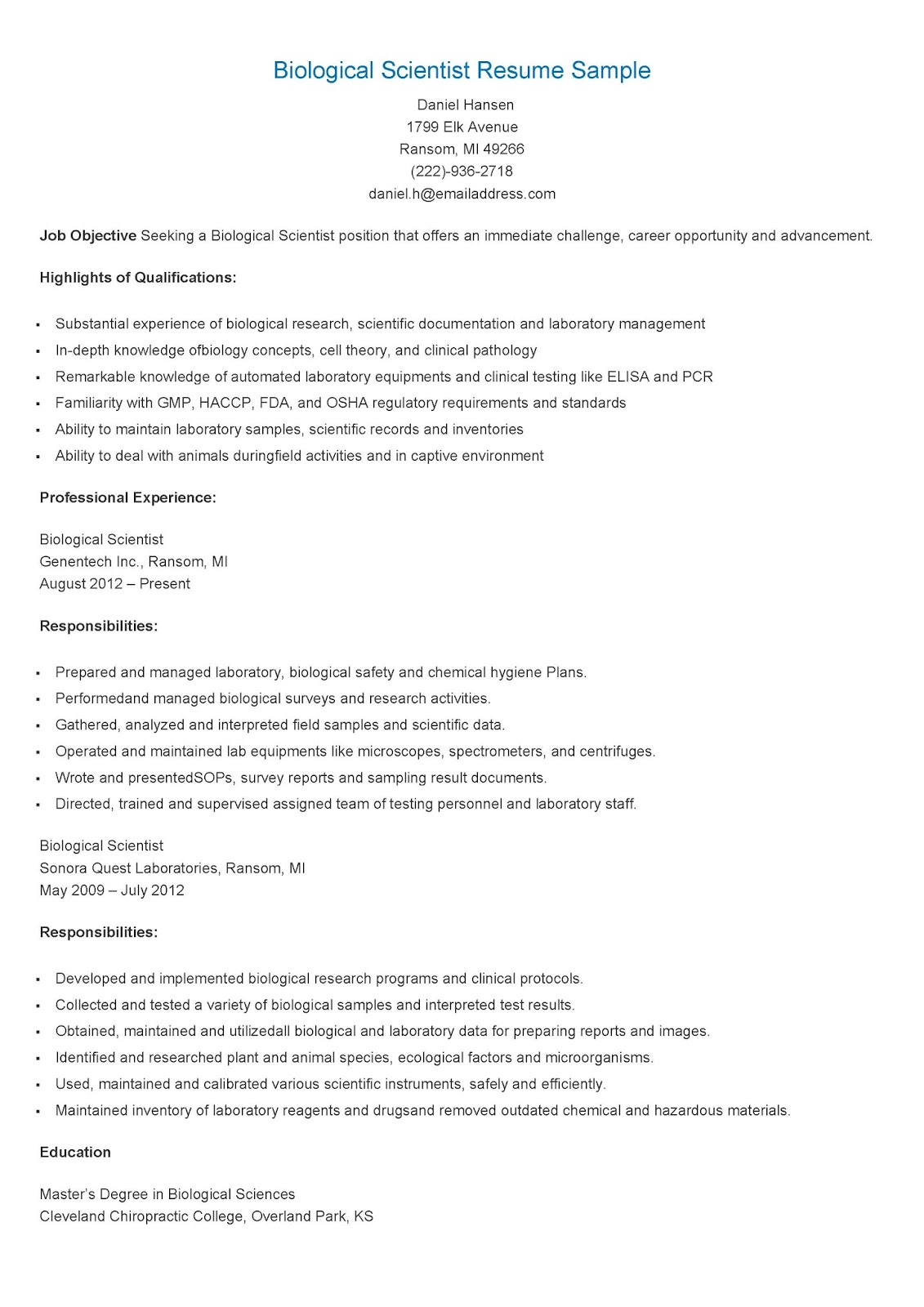 Scientist resume examples