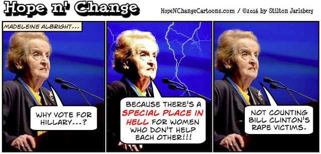 obama, obama jokes, political, humor, cartoon, conservative, hope n' change, hope and change, stilton jarlsberg, albright, clinton, special place in hell