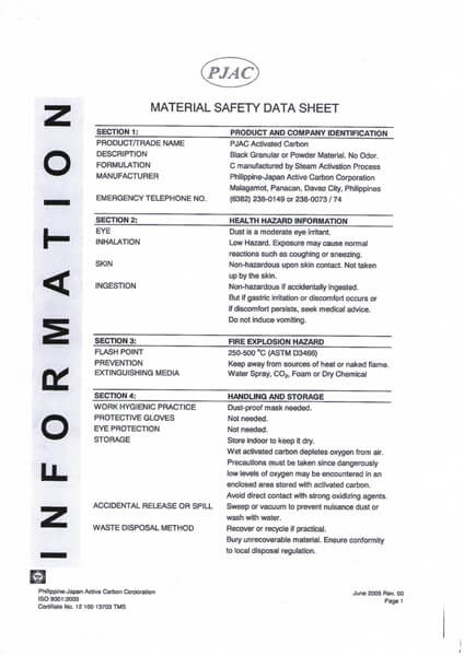 Material Safety Data Sheet (MSDS) Karbon Aktif Kowa PJAC (Philippine Japan Active Carbon Corporation)
