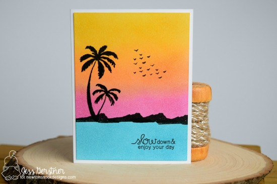 Beach Silhouette Card by Jess Crafts | Paradise Palms stamp set by Newton's Nook Designs #newtonsnook