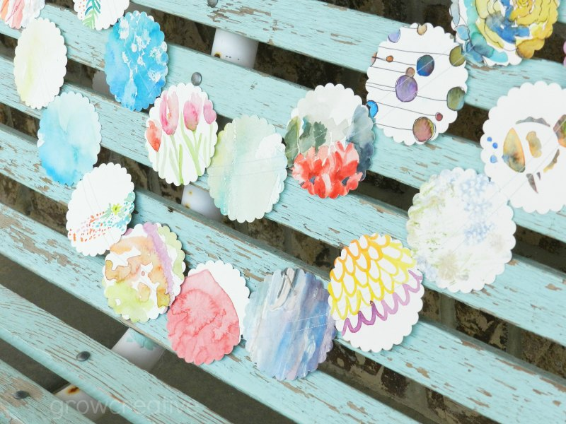 Flower Garland made out of recycled watercolor paper: Grow Creative