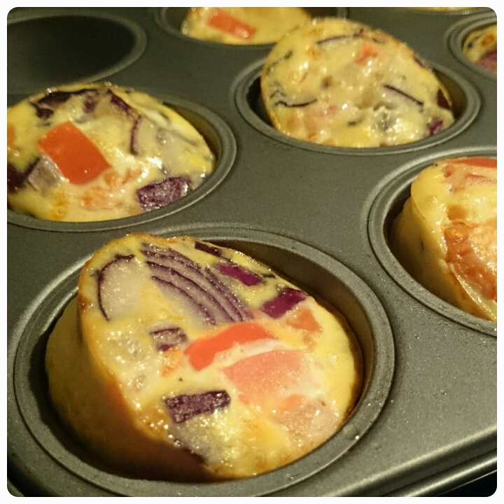 tomato and onion egg muffins