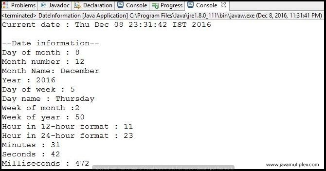 Output of Java program that prints every information about current date.