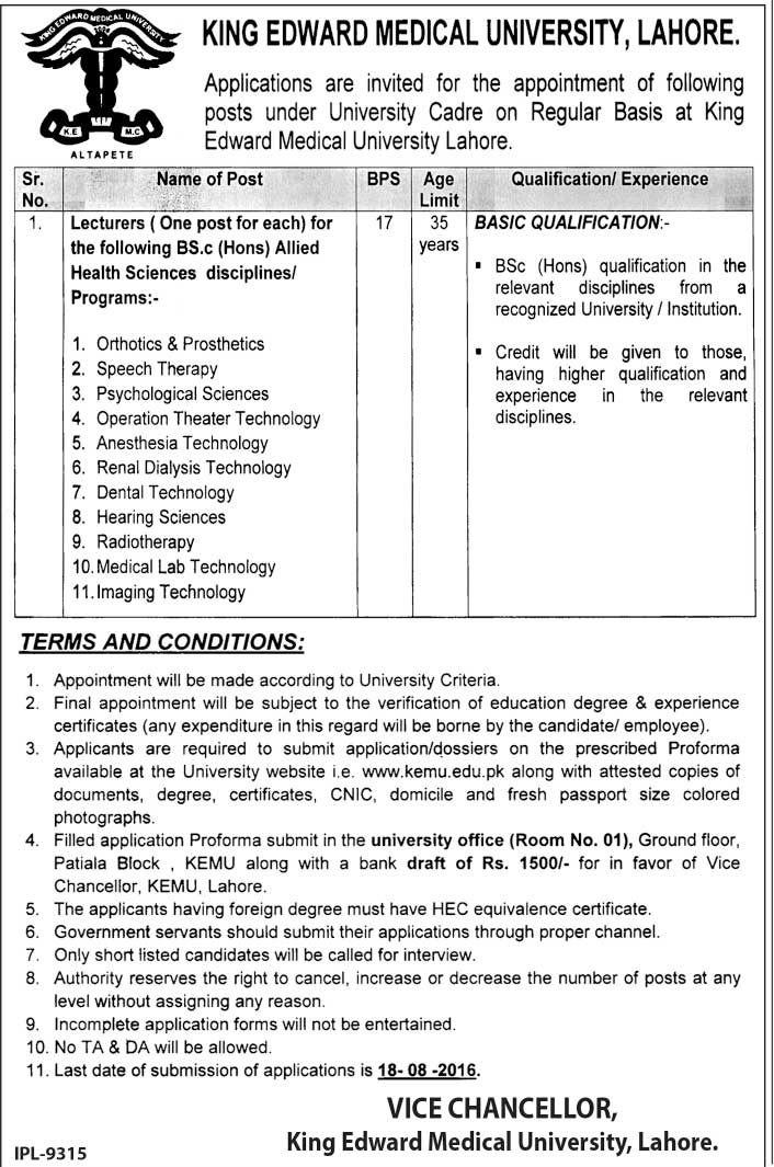 Lecturer Jobs in Lahore King Edward Medical University Lahore Jobs for MBBS Doctors