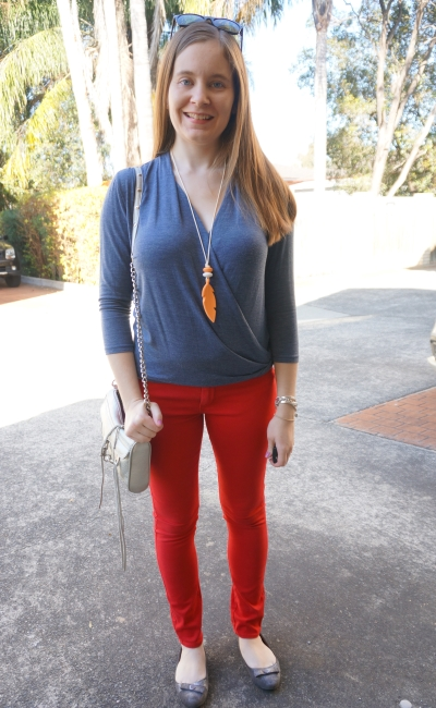 Dorothy perkins wrap top navy marle red skinny jeans spring breastfeeding outfit SAHM style | Away From Blue