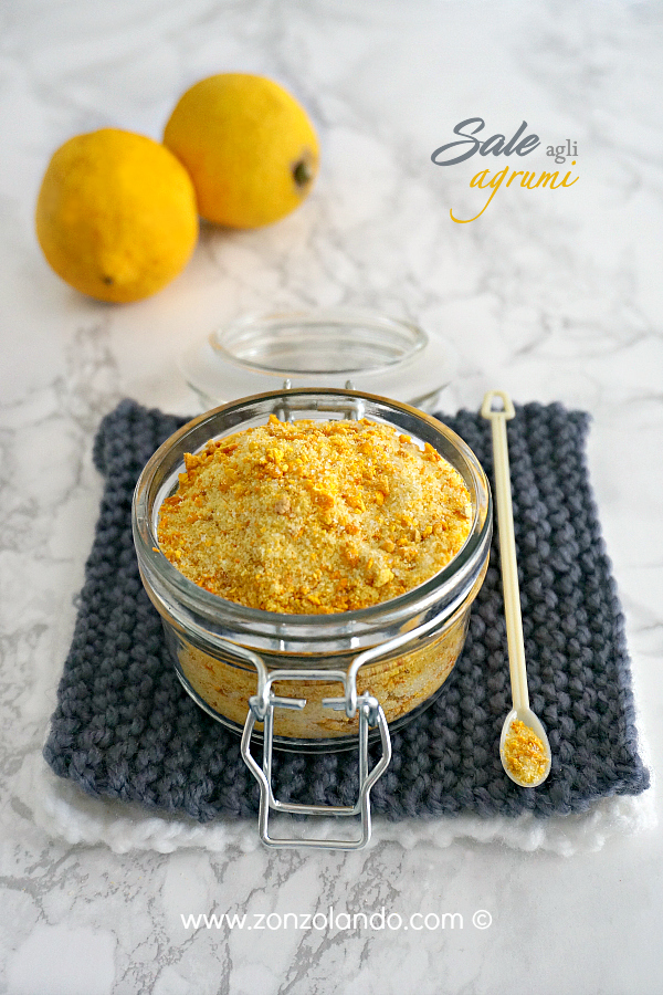 Sale aromatico agli agrumi arancia limone per insaporire piatti ideale per ricette a base di pesce carni - lemon and orange zest salt recipe