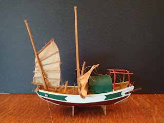 Model of small Chinese junk at Penobscot Marine Museum