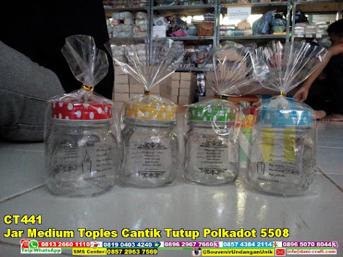 jual Jar Medium Toples Cantik Tutup Polkadot 5508