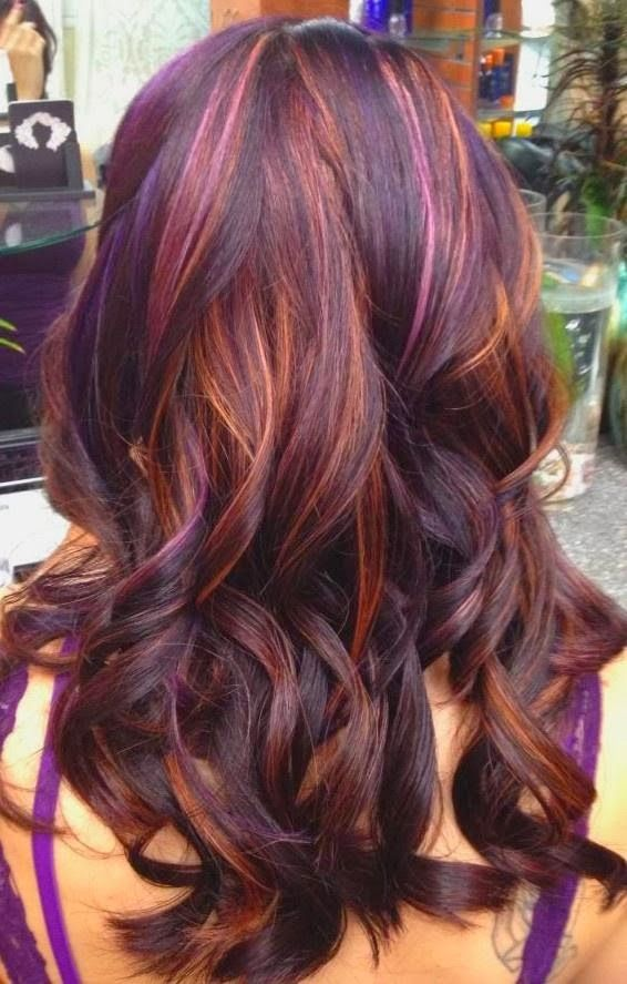 dark auburn hair-color with-blonde-highlights
