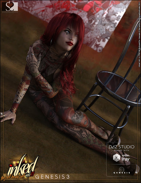 Inked Vol.11: The Full Bodysuit for Genesis 3 Female