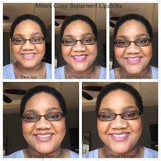 Milani lipstick lip swatches on dark skin (woc)
