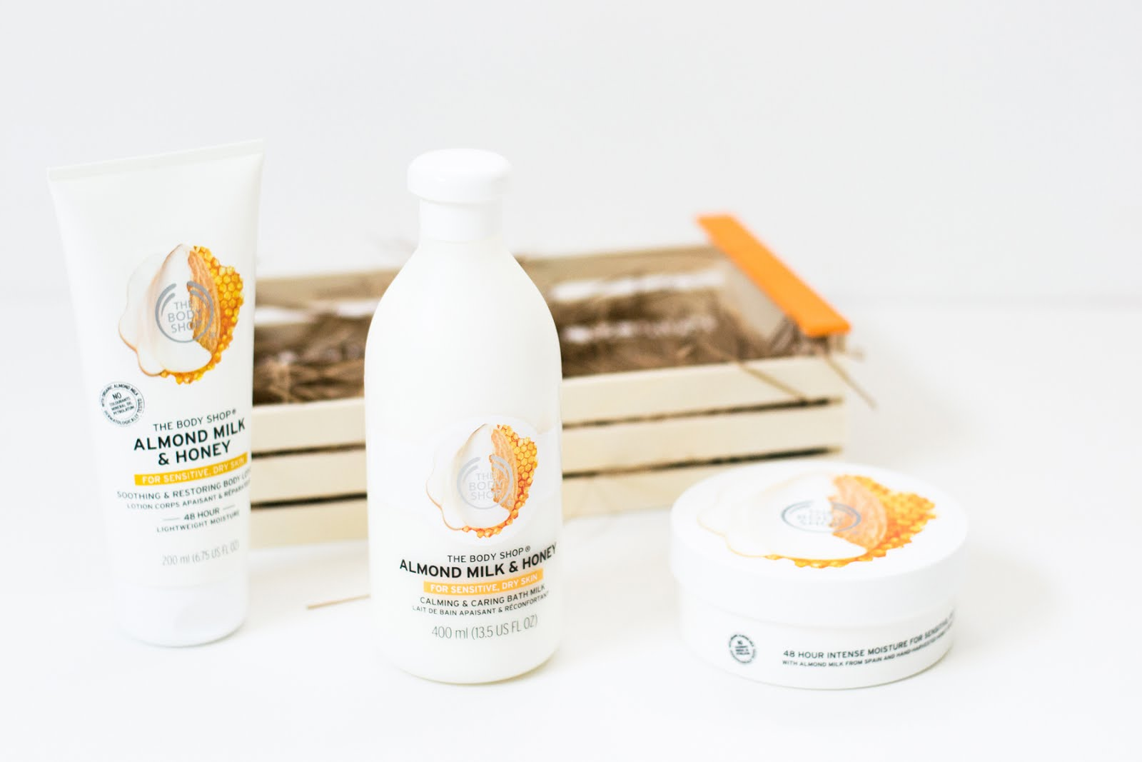 The bodyshop, almond milk & honey, body lotion, shower cream, bodybutter