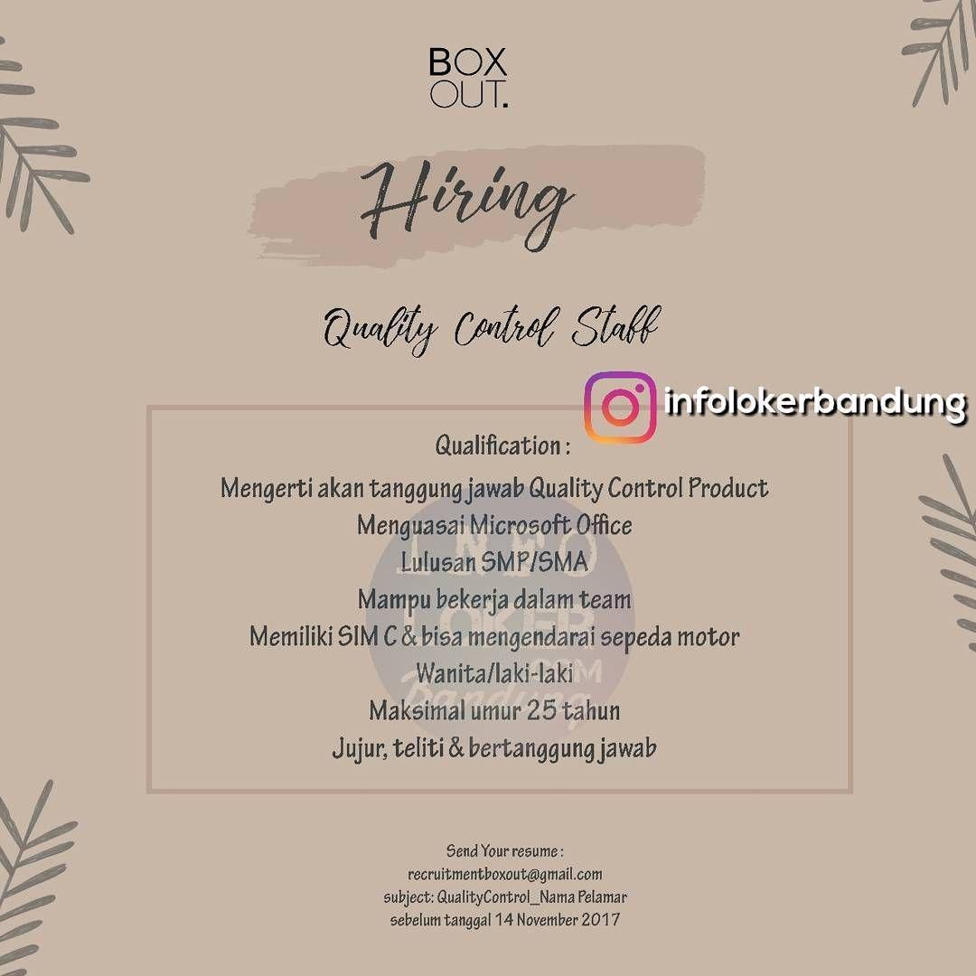 Lowongan Kerja Box Out Store Bandung November 2017
