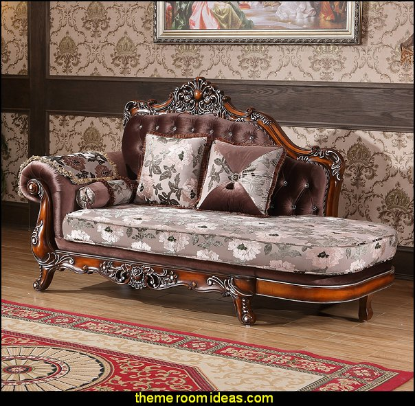 Marbella Chaise Lounge   Victorian Decorating ideas - Vintage decorating - Victorian Boudoir - Romantic Victorian Bedroom Decor - lace and ruffles bedding - floral bedding - victorian bedroom photos - Vintage decor - vintage themed bedroom for a girl