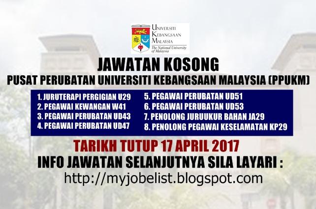 Jawatan Kosong Pusat Perubatan Universiti Kebangsaaan Malaysia (PPUKM) April 2017