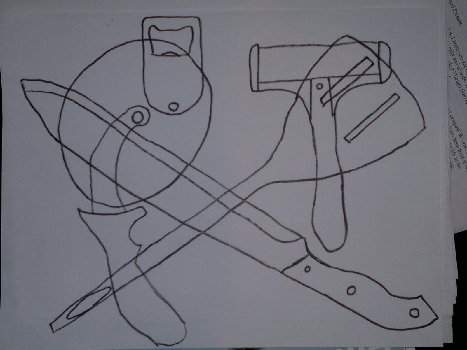 Frog S Blog Contour Line Drawing Kitchen Utensils