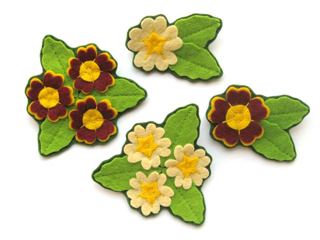 Felt primrose and auricula brooches