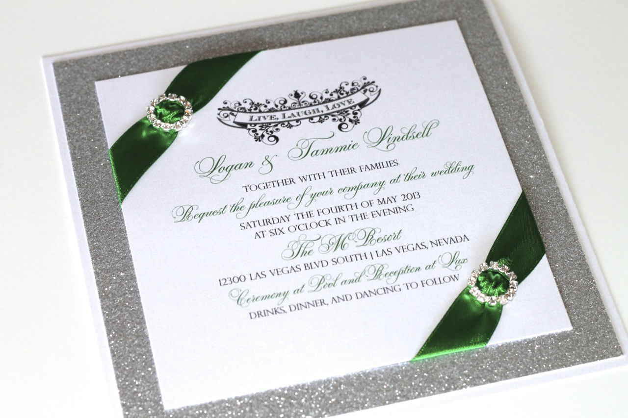 Embellished Paperie Blog Gorgeous Emerald Green And Silver Glitter Wedding Invitations