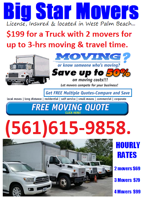 Royal Palm Beach Moving companies $199 Movers (561)615-9889 bigstarmoving.com