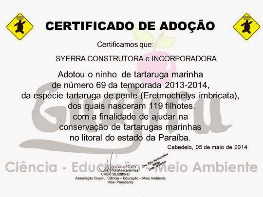 Certificado de adoção de ninho de tartaruga em Intermares SYERRA