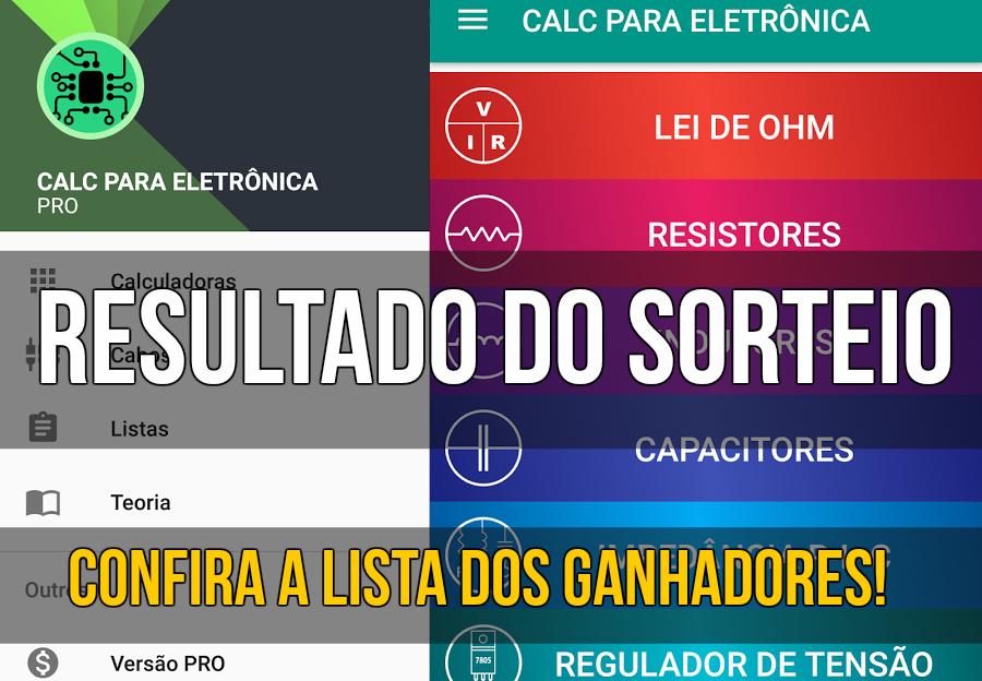 Resultado do Sorteio: App Calc para Eletrônica PRO